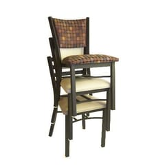 Fully Upholstered Stackable Metal Chair in Black