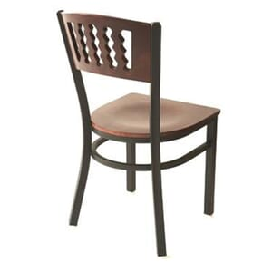 Solid Wood Restaurant Dining Chair With Dark Mahogany Veneer Back