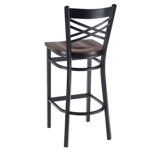 Black Metal X-Back Commercial Bar Stool