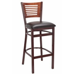 Mahogany Metal Slatted Back Commercial Bar Stool