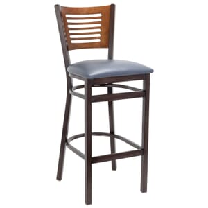 Walnut Metal Commercial Bar Stool with Slatted Walnut Veneer Back and Upholstered Seat (Front)