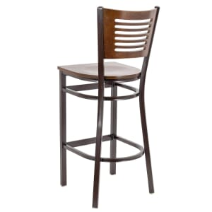 Walnut  Metal Commercial Bar Stool with Slatted Walnut Veneer Back
