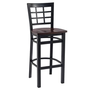 Black Steel Window-Back Restaurant Bar Stool with Solid Beechwood Seat (front)