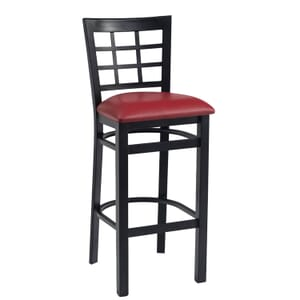 Black Steel Window-Back Restaurant Bar Stool with Upholstered Seat (front)
