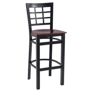 Black Steel Window-Back Restaurant Bar Stool with Veneer Seat (front)