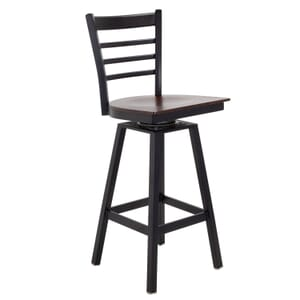 Black Metal Swivel Ladderback Restaurant Bar stool with Veneer Seat (Front)