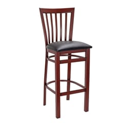 Mahogany Steel Vertical-Back Restaurant Bar Stool