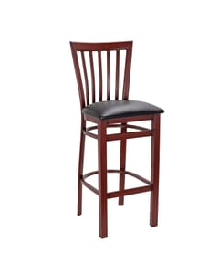Mahogany Steel Vertical-Back Restaurant Bar Stool with Upholstered Seat (Front)