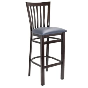 Walnut Steel Vertical-Back Restaurant Bar Stool with Upholstered Seat (Front)