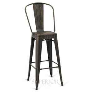 Aged Copper Steel Eiffel Restaurant Bar Stool with Arched Metal Backrest