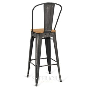 Brushed Silver Steel Eiffel Restaurant Bar Stool with Arched Metal Backrest