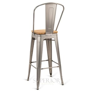 Distressed Clear Steel Eiffel Restaurant Bar Stool with Arched Metal Backrest