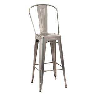 Distressed Clear Steel Eiffel Restaurant Bar Stool with Arched Metal Backrest (front)