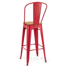 Red Steel Eiffel Restaurant Bar Stool with Arched Metal Backrest