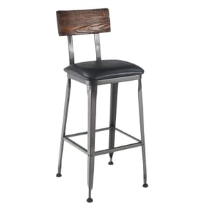 Industrial Wood-Back Steel Restaurant Bar Stool with Upholstered Seat (front)