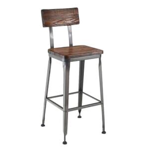 Industrial Wood-Back Steel Restaurant Bar Stool with Solid Ash-Wood Seat (front)
