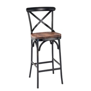 Antique-Look Metal Cross-Back Commercial Bar Stool with Premium Solid Ashwood Seat (front)