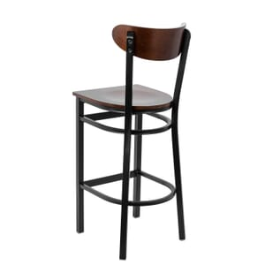 Black Metal Commercial Bar Stool with Dark Mahogany Veneer Kidney Shaped Back