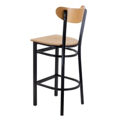 Black Metal Commercial Bar Stool with Kidney Shaped Veneer Back