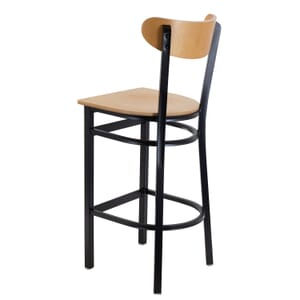 Black Metal Commercial Bar Stool with Natural Veneer Kidney Shaped Back