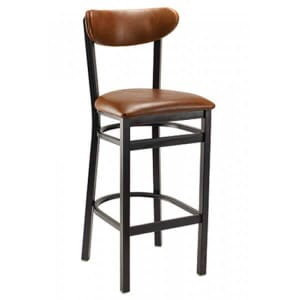 Black Metal Commercial Bar Stool with Kidney Shaped Upholstered Seat and Back