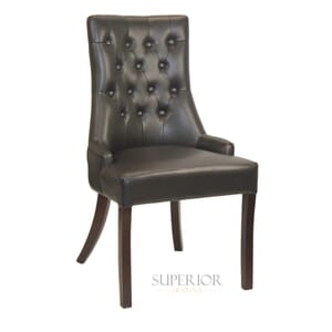 Fully Upholstered Espresso Padded Vinyl Commercial Dining Chair with Tufed Back
