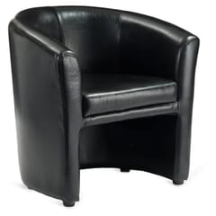 Fully Upholstered Black Vinyl Tub Chair