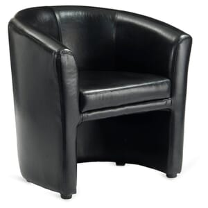 Fully Upholstered - Tailored Black Vinyl Tub Chair