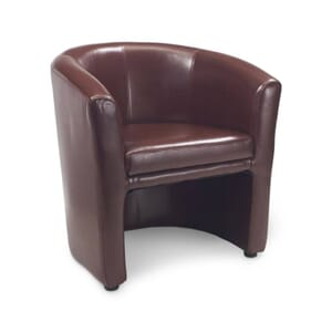 Fully Upholstered Burgundy Vinyl Tub Chair