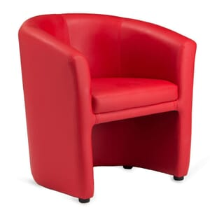 Fully Upholstered - Tailored Red Vinyl Tub Chair