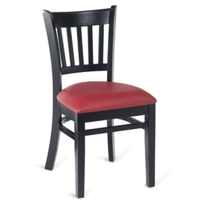 Black Wood Vertical-Back Commercial Chair with Upholstered Seat