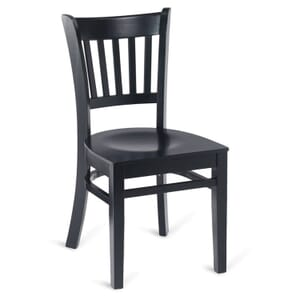 Black Wood Vertical-Back Commercial Chair with Veneer Seat