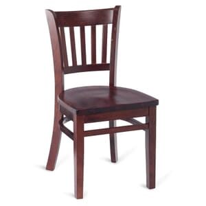 Dark Mahogany Wood Vertical-Back Commercial Chair with Solid Beechwood Seat