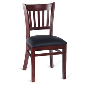 Dark Mahogany Wood Vertical-Back Commercial Chair with Upholstered Seat