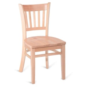 Natural Wood Vertical-Back Commercial Chair with Solid Beechwood Seat