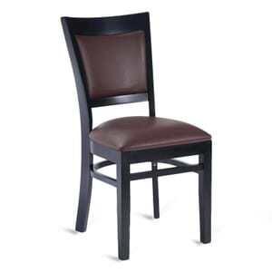 Black Wood Easton Restaurant Chair with Burgundy Vinyl Seat & Back (Front)