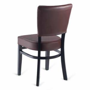 Fully Upholstered Black Wood Bennett Restaurant Chair with Burgundy Vinyl
