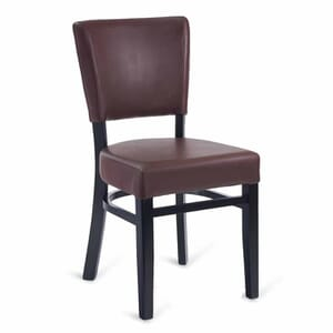 Fully Upholstered Black Wood Bennett Restaurant Chair with Burgundy Vinyl