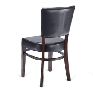 Fully Upholstered Wood Bennett Restaurant Chair with Brown Vinyl
