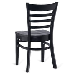 Solid Wood Ladder Back Commercial Dining Chair in Black