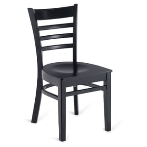 Black Wood Ladderback Commercial Chair with Veneer Seat