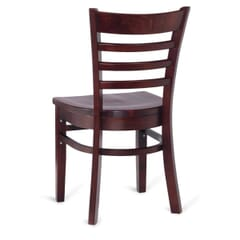 Solid Wood Ladder Back Commercial Dining Chair in Dark Mahogany
