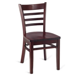 Dark Mahogany Wood Ladderback Commercial Chair with Solid Beechwood Seat