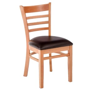 Natural Wood Ladderback Commercial Chair with Upholstered Seat (front)