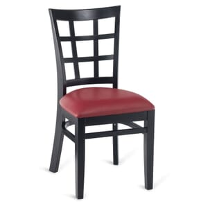 Black Wood Lattice-Back Restaurant Chair with Upholstered Seat