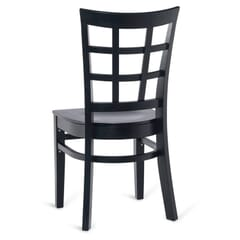 Black Wood Lattice-Back Restaurant Chair