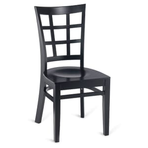 Black Wood Lattice-Back Restaurant Chair with Veneer Seat