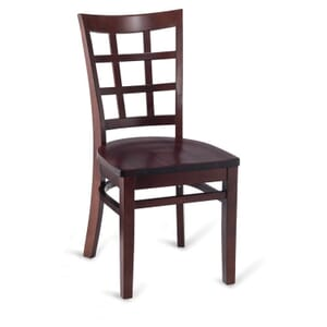 Dark Mahogany Wood Lattice-Back Restaurant Chair with Solid Beechwood Seat