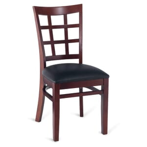 Dark Mahogany Wood Lattice-Back Restaurant Chair with Upholstered Seat