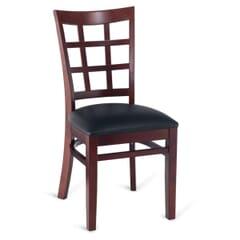 Dark Mahogany Wood Lattice-Back Restaurant Chair